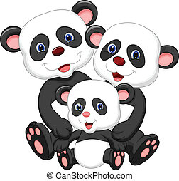 Panda bear family cartoon - Vector illustration of Panda...