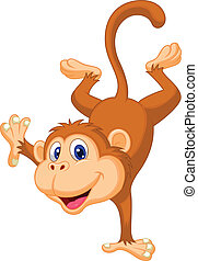 Cute monkey cartoon standing in its - Vector illustration of...