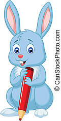 Cute rabbit cartoon holding red pen - Vector illustration of...