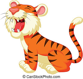 Cute tiger cartoon roaring - Vector illustration of Cute...