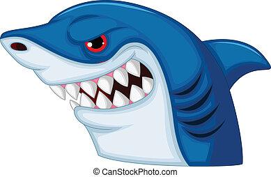 Shark head mascot cartoon - Vector illustration of Shark...