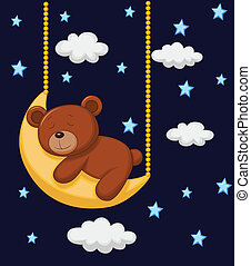 Baby bear cartoon sleeping on the m - Vector illustration of...