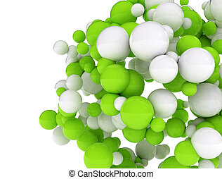 Cluster of 3d spheres - white and green spheres isolated on...