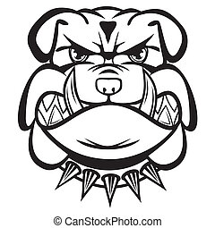 Angry bulldog head black and white