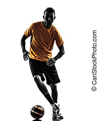 young man soccer player silhouette - one caucasian young man...