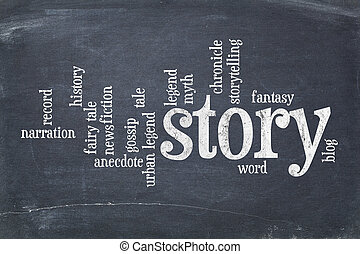 story word cloud on blackboard - cloud of words related to...