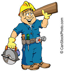 The Carpenter - Cartoon Illustration of a Carpenter Ready...