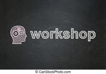 Education concept: Head With Gears and Workshop on...