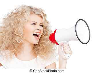 woman with long curly hair holding megaphone - health and...