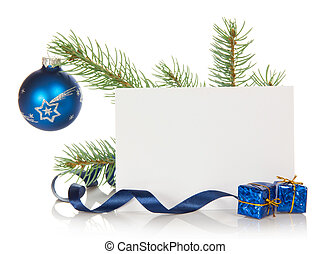 Fir-tree branch with Christmas toy and blank card - Fir-tree...