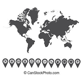 World map icon 2 - Map with Navigation Icons Vol 2 Vector...