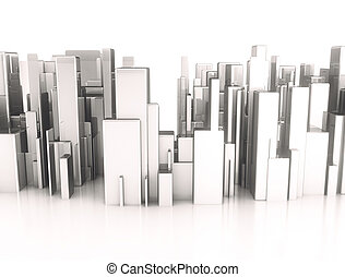 Metal 3d cubes abstract city