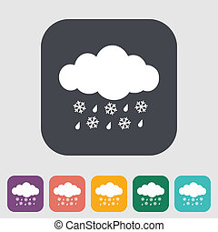 Sleet icon - Sleet Single icon on the button Vector...
