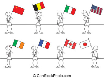 Stick figures flags - Set of eight stick figures with flags...