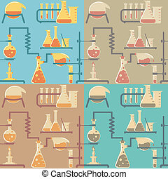 Flat Chemistry Pattern - Seamless pattern of chemical...