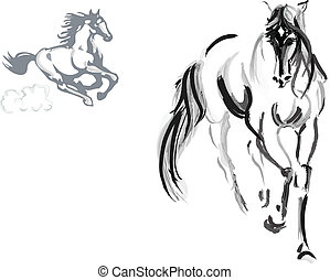 Horse sketch - Horse drawing vector illustration