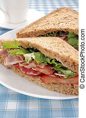 Bacon Lettuce and Tomato Sandwich on malted whole grain...