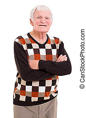 senior man with arms crossed - cheerful senior man with arms...