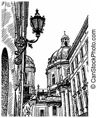 digital drawing of Lviv Ukraine historical avenue