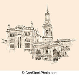 digital drawing of Kiev Ukraine historical building