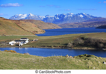 Loch, valley and farm - A scenic loch view in the highlands...