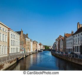 Bruges (Brugge), Belgium - Canal and medieval houses. Bruges...