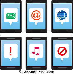 Phone Message Symbols - Isolated cell phones with message...