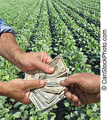 Agriculture - Farmer and buyer hands holding dollar banknote...