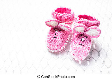 Knitted baby booties - Knitted pink baby booties and blanket...