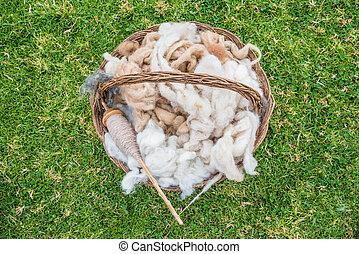 Alpaca, lana, peruano, andes, Cuzco, perú