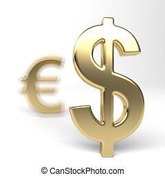 Dollar and Euro money symbols. Euro in the shadow of the...