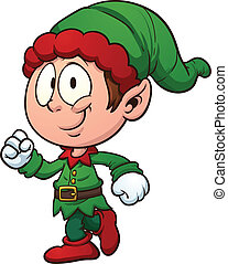 Christmas elf clip art. Vector cartoon illustration with...