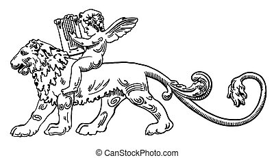 Heraldic lion with angel make music - ink drawing of vintage...