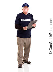 elderly man working for charity
