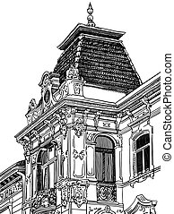 digital drawing of Lviv Ukraine historical building