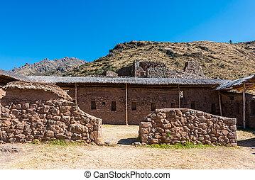 Pisac ruins peruvian Andes Cuzco Peru - Pisac, Incas ruins...