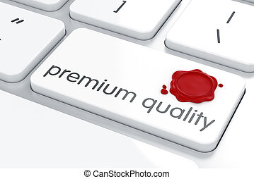 Premium quality concept - Wax seal on the computer keyboard....