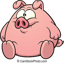 Fat pig clip art. Vector cartoon illustration with simple...