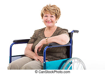 elderly handicapped woman sitting on wheelchair