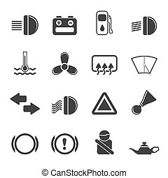 Silhouette Car Dashboard icons