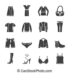 Silhouette Clothing and Dress Icons - Vector Icon Set
