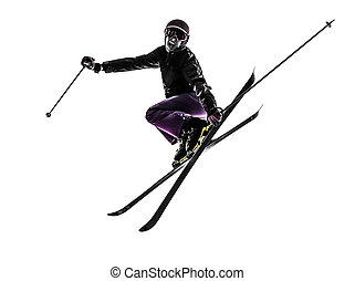 one woman skier skiing jumping silhouette - one caucasian...