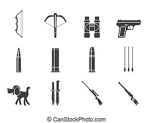 Silhouette Hunting and arms Icons - Vector Icon Set