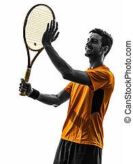 man tennis player portrait applauding silhouette - one man...