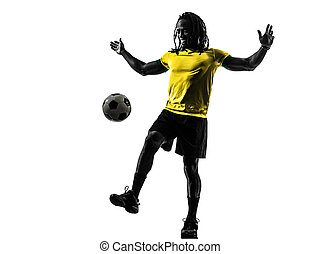 one black brazilian soccer football player man silhouette -...
