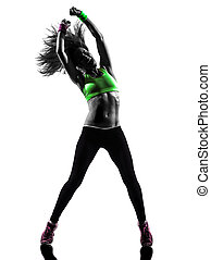 woman exercising fitness zumba dancing silhouette - one...