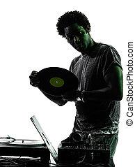 disc jockey man silhouette - one disc jockey man in...