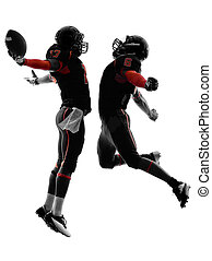 two american football players touchdown celebration...