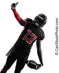 american football player thumb up  portrait silhouette