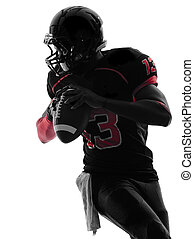 american football player quarterback portrait silhouette -...